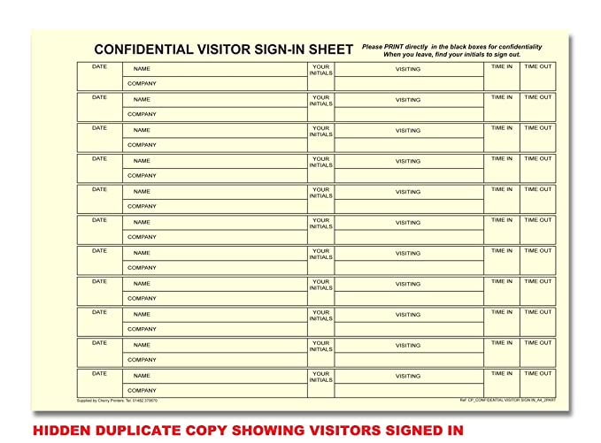 cherry carbonless ncr confidential visitor sign in duplicate book a4