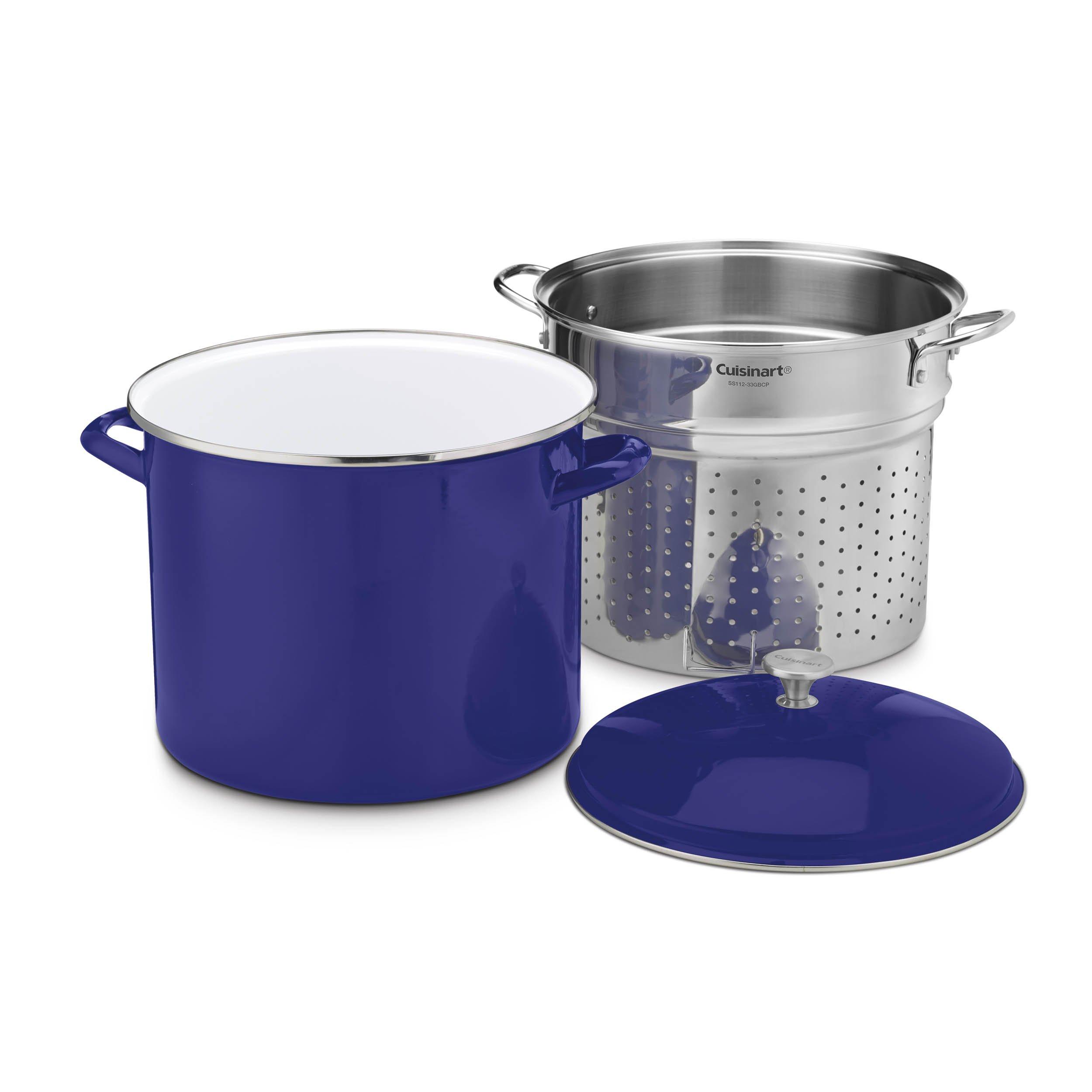 Cuisinart EOS206-33CBLSCP 3 Piece Stockpot/Steaming Set with Self-Draining Clip, 20 quart, Cobalt Blue