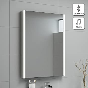 500 X 700 Mm Modern Illuminated LED Bathroom Mirror With Bluetooth Speaker  MC128