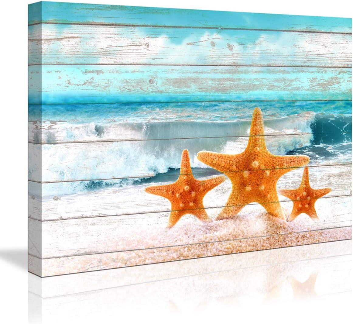 Amazon Com Ocean Home Decor Bathroom Wall Decor Board Beach Sea Starfish Wall Art Bathroom Decor Prints Canvas Wall Art Small Framed Artwork For Walls Modern Paintings On Canvas Prints Starfish 16x24inch Posters
