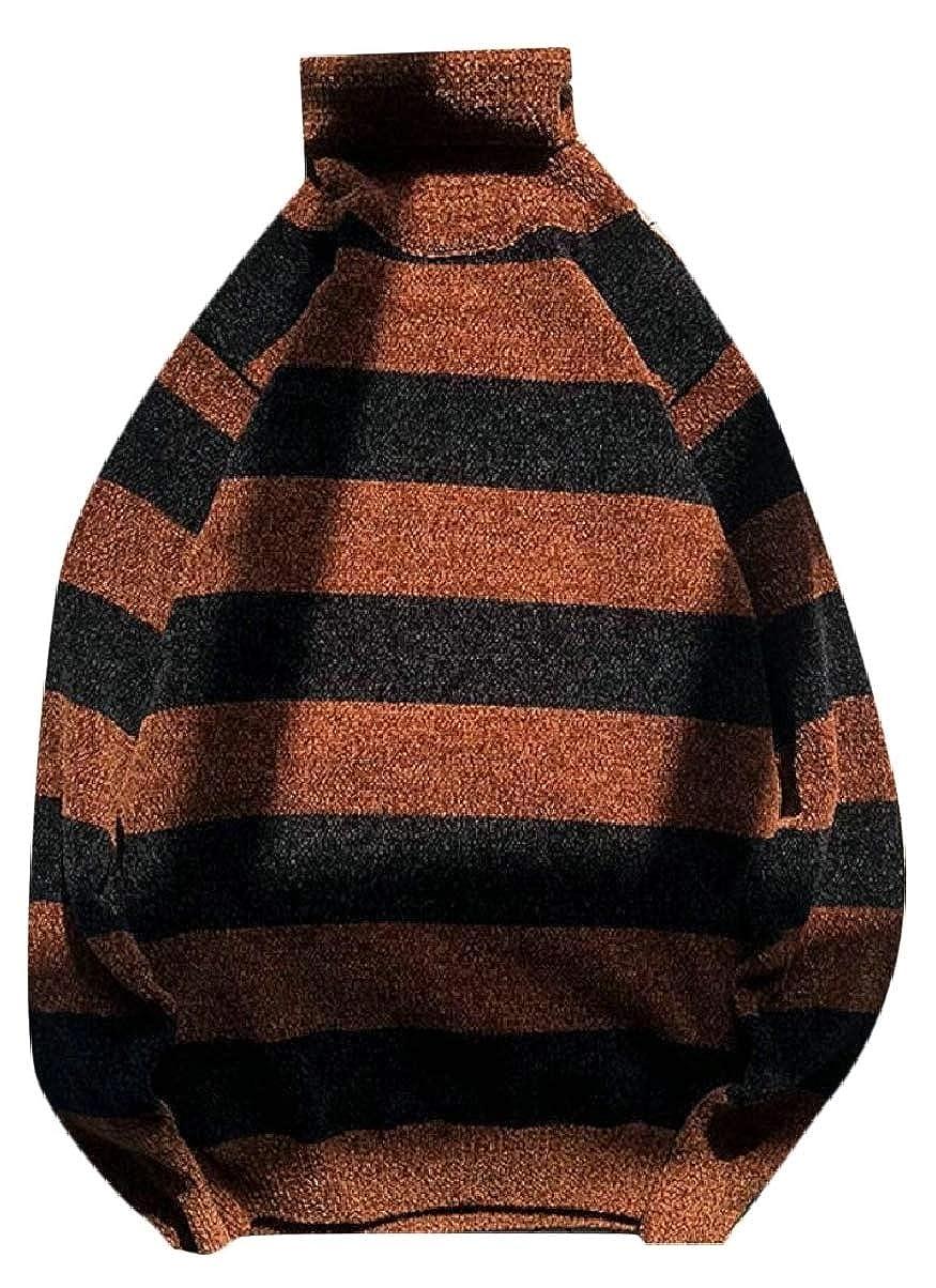 ZXFHZS Mens Stripe Fashion Knitted Knitwear Turtleneck Regular Fit Pullover Sweaters