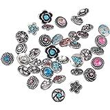 Souarts Mixte Multicolore Strass Boutons à Pression pour Bracelet Collier Motif Aleatoire 4.5mm 10PCS