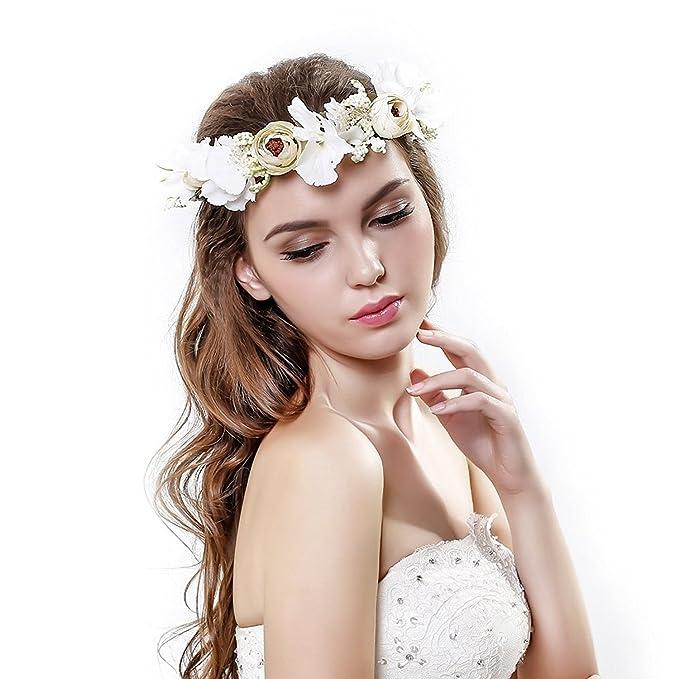 Ever Fairy/® Blumenkrone Stirnband mit verstellbarem Band f/ür Frauen oder M/ädchen als Haarschmuck