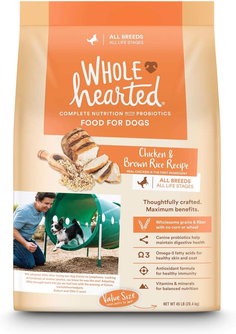 WholeHearted All Life Stages Chicken and Brown Rice Recipe Dry Dog Food, 45 lbs.