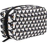 ALAZA Penguin Seamless Cosmetic Bag Black Zipper Storage Bag Portable Ladies Travel Square Makeup Brushes Bag