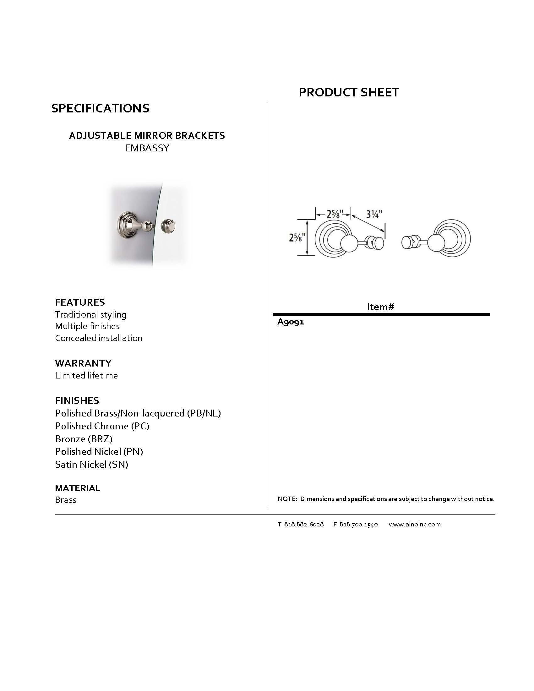 Alno A9091-PN Traditional Embassy Adjustable Mirror Brackets, Polished Nickel