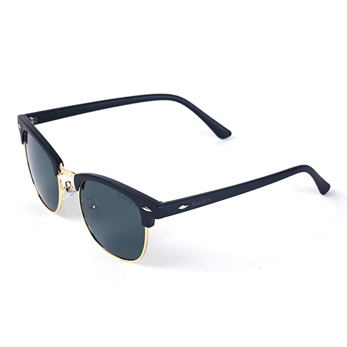 abe3a1373bc Vseegrs Retro Polarized Clubmaster Sunglasses for Men Women Mirrored Shades  with UV Protection (Black