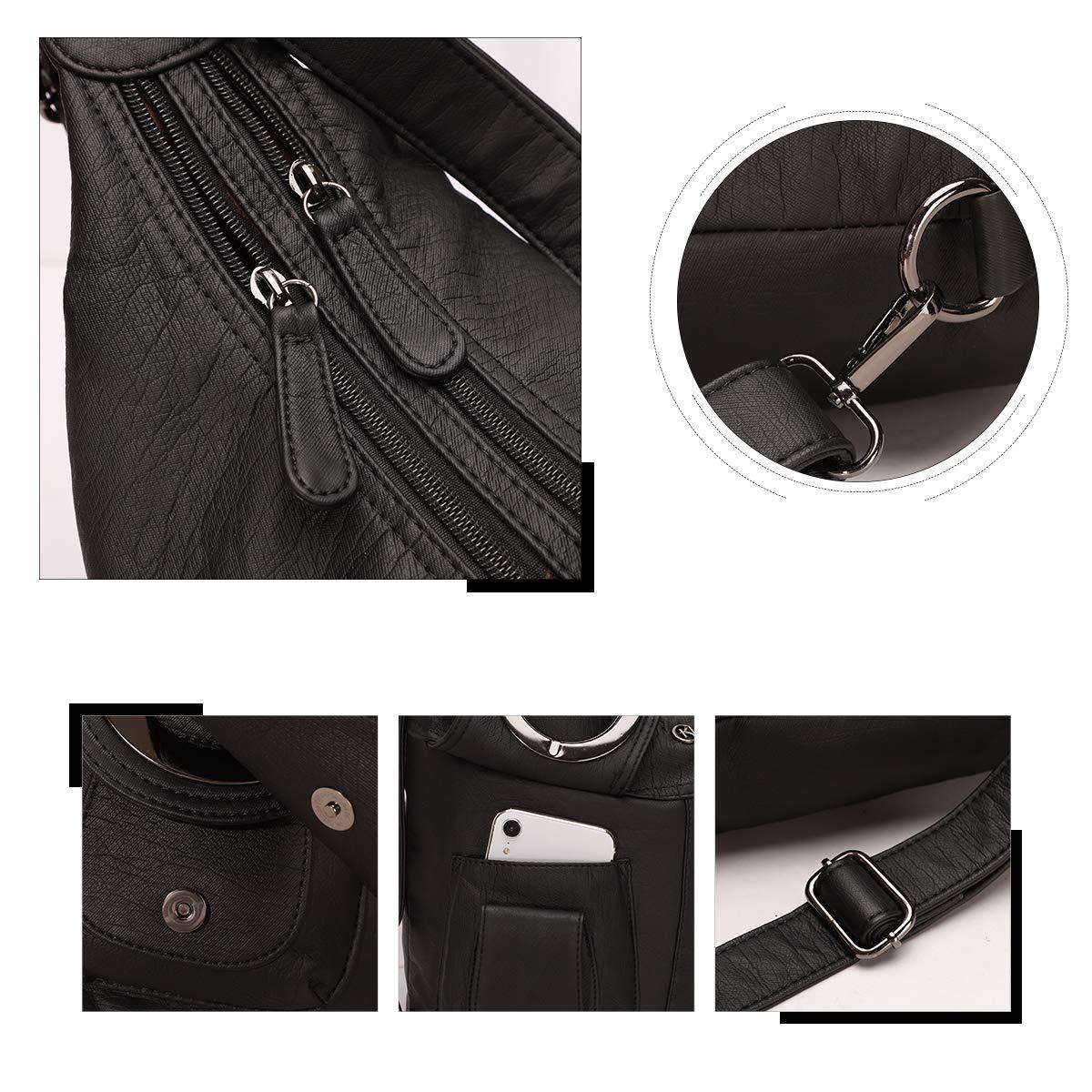 KL928 dam väska handväska axelväska läder damhandväska handväskor läderhandväska ryggsäck vintage väskor för kvinnor (W6802-svart) SVART