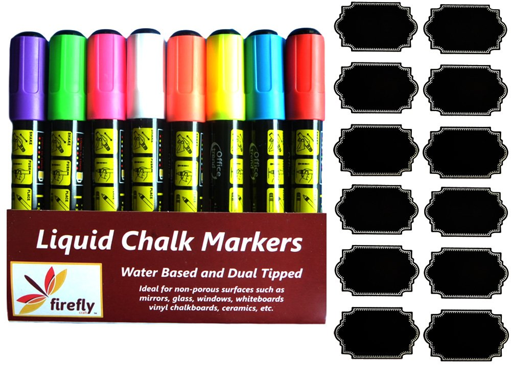 8 Pack Firefly Craft Fine Tip and Broad Tip Chalk Marker Pens with Chalkboard Labels