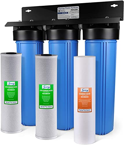 iSpring WGB32B 3-Stage Whole House Water Filtration System w 20-Inch Big Blue Sediment and Carbon Block Filters
