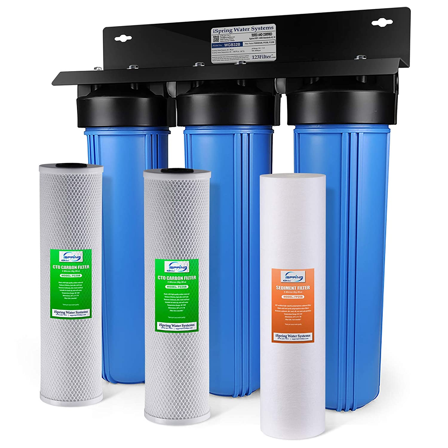 iSpring WGB32B 3-Stage Whole House Water Filtration System w/ 20-Inch Big Blue Sediment and Carbon Block Filters