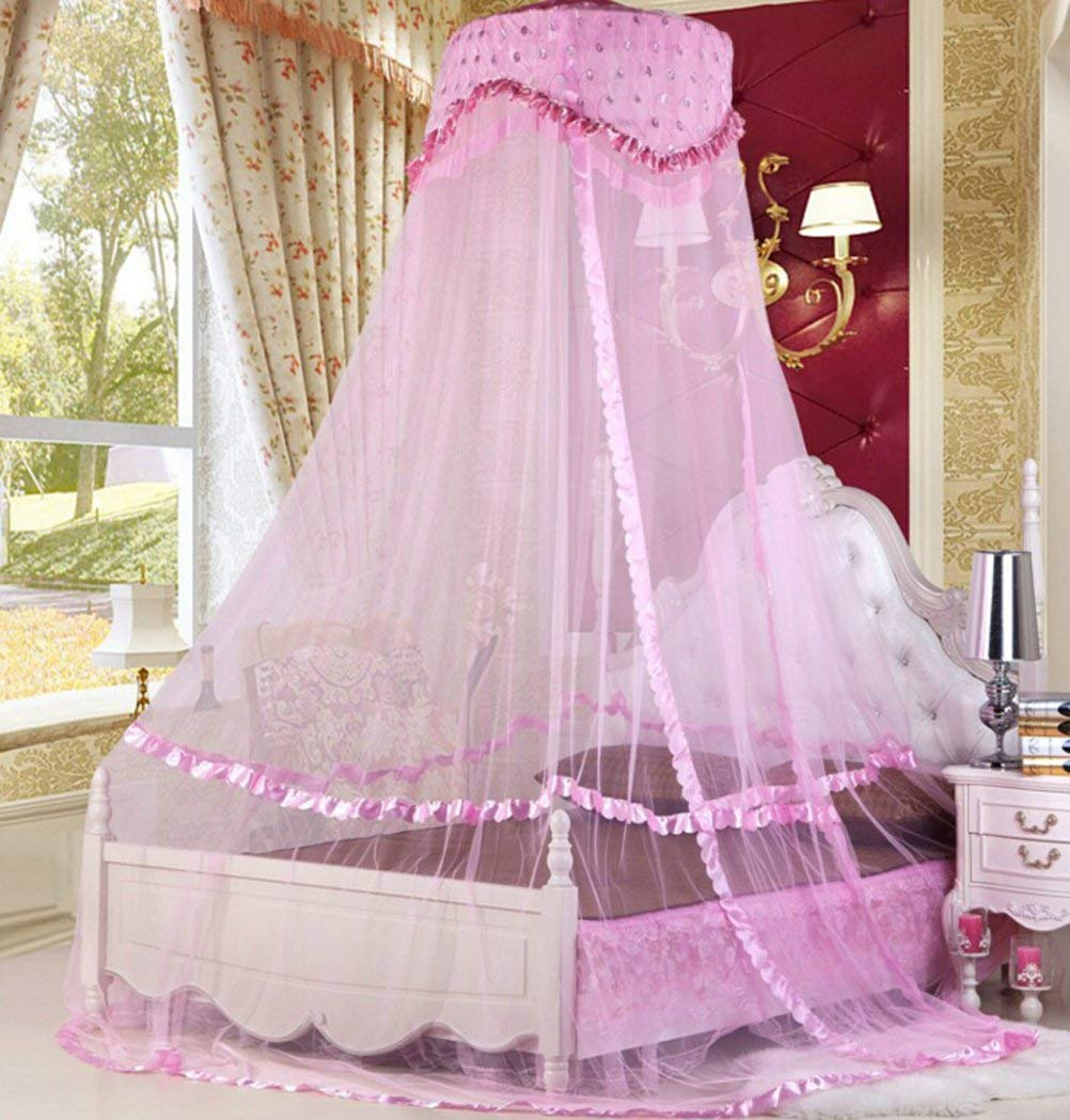 Raxsun Baby Crib Canopy Netting Luxury Princess Bed Net Round Hoop Netting Mosquito Net Bedroom Decor (Pink)