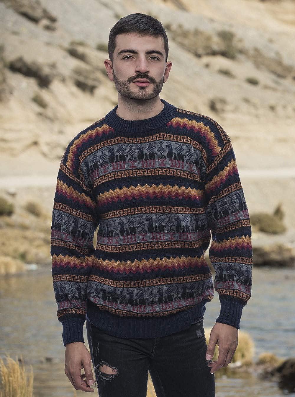 Gamboa Dise/ño Multicolor con Detalles Geom/étricos Jersey de Alpaca