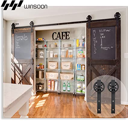 WINSOON Sliding Barn Door Hardware Big Wheel 10FT Double Door Kit  Accessories, Industrial Spoke Wheel