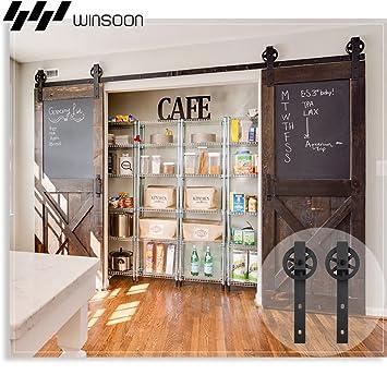 Amazon Winsoon Wood Double Sliding Barn Door Hardware Basic