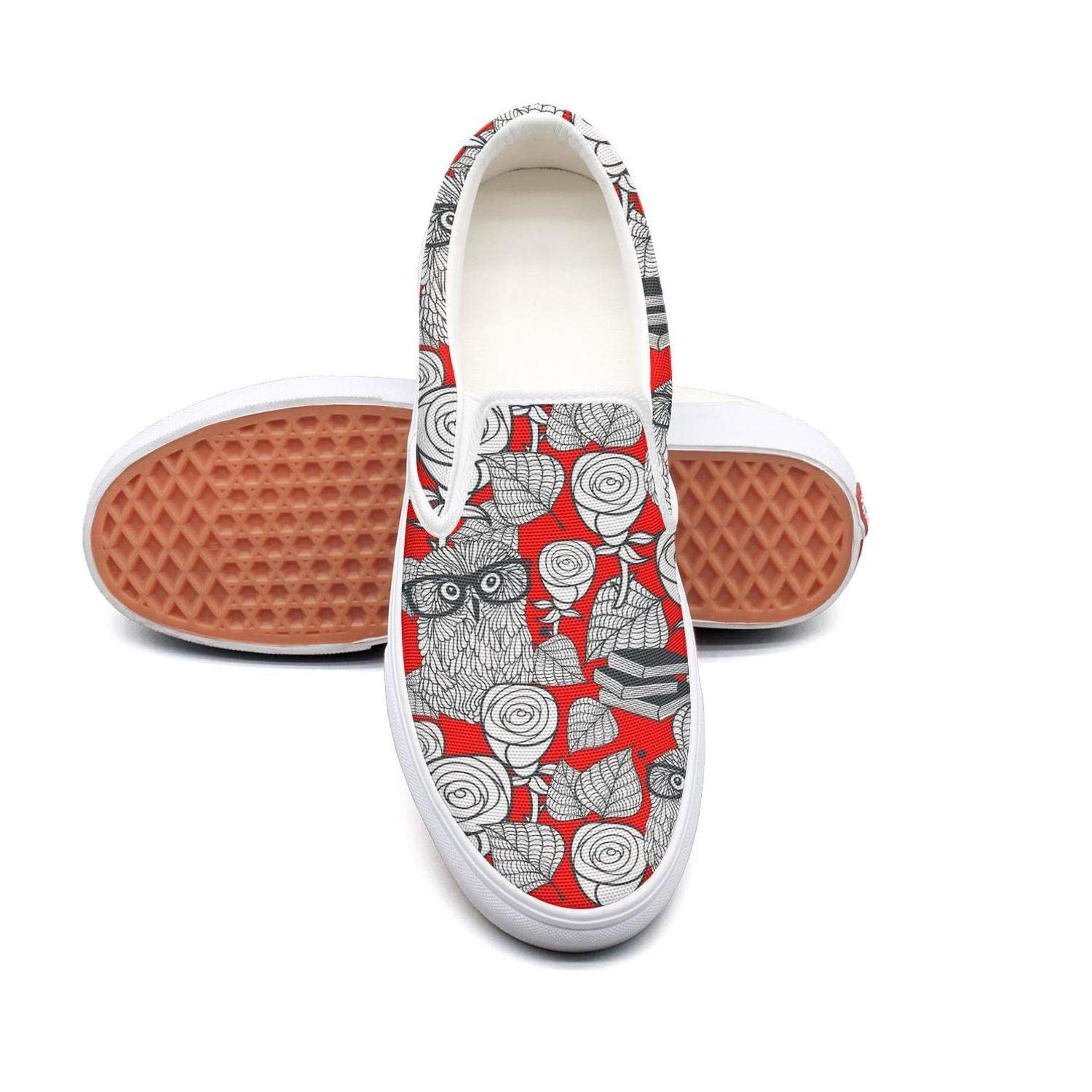 Hipster Owls In Glasses With Tender Roses Womens Slip On Sneakers Shoes Canvas Upper