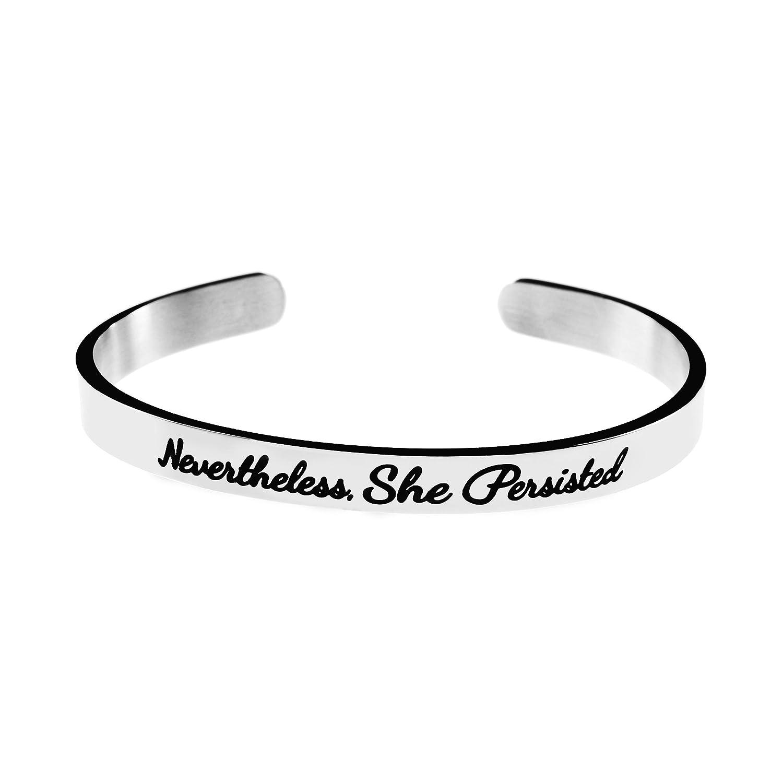Joycuff Bangle Bracelet for Teen Girls Inspirational Mantra Saying Stainless Steel Cuffs