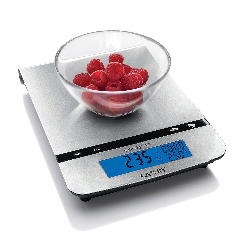 Camry - Balanza de cocina digital (5 kg), de acero inoxidable, con recipiente de mezclado, 5 medidas