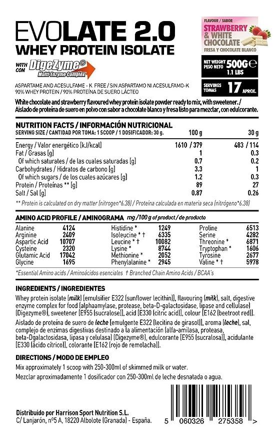 Whey Protein Isolate (WPI) de HSN Sports - Aislado de Proteína de Suero Evolate 2.0 - Sabor Fresa Chocolate Blanco - 500 gr