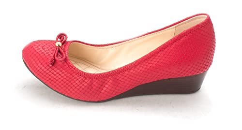 Cole Haan Womens Bellesam Closed Toe Wedge Pumps Red Snake Size 6.0