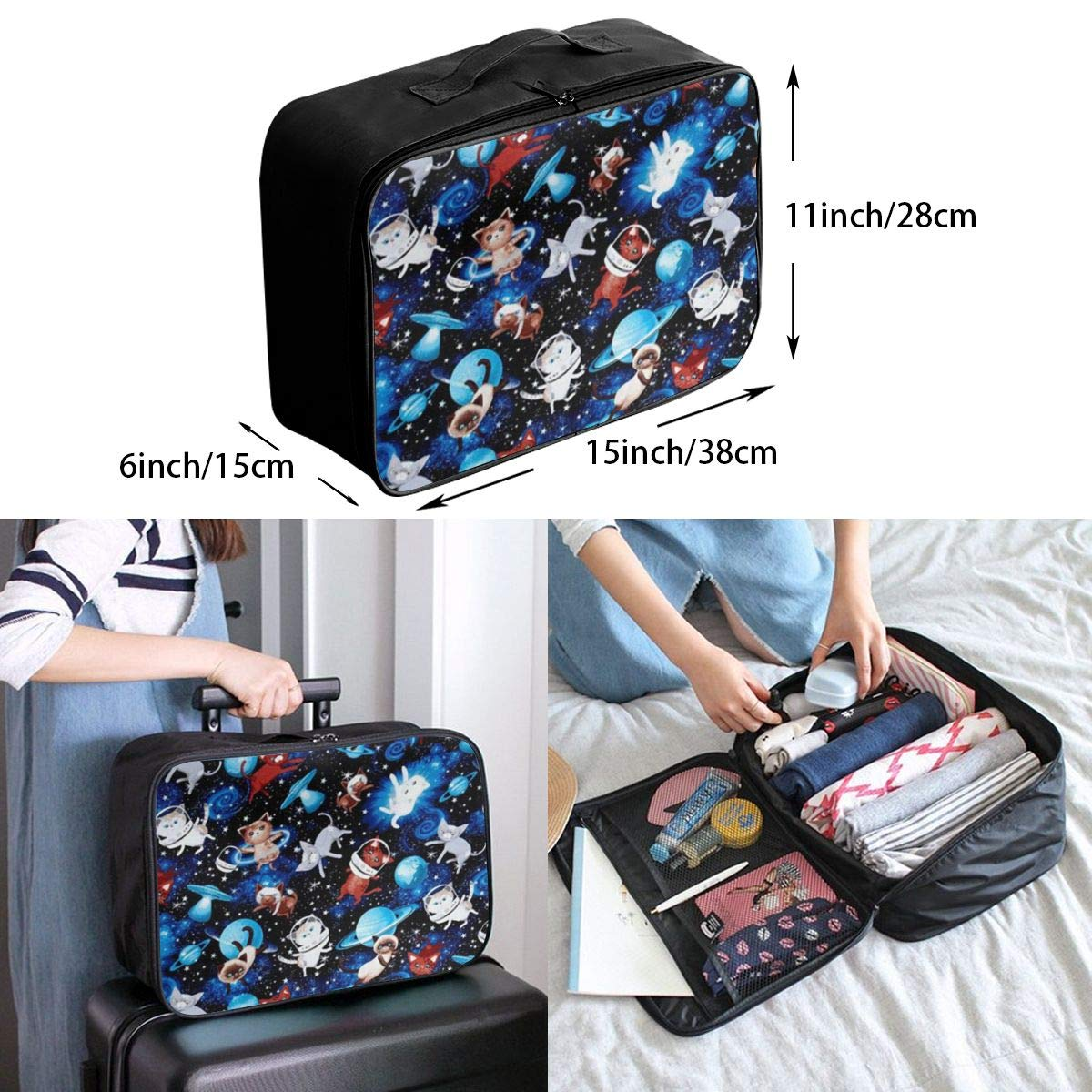 ADGAI Space Cats Space Canvas Travel Weekender Bag,Fashion Custom Lightweight Large Capacity Portable Luggage Bag,Suitcase Trolley Bag