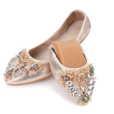 Anxle Womens Foldable Ballet Flats Bling Rhinestone Pointed Toe Comfort Slip On Walk Work Loafers Bridal Dress Shoes | Flats