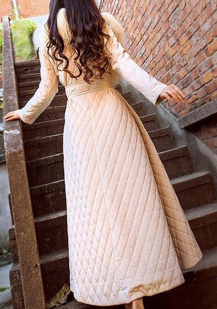 ainr Women's Classic Long Sleeve Faux Fur Neck A-Line Puffer Down Coat Beige XXS by ainr (Image #3)
