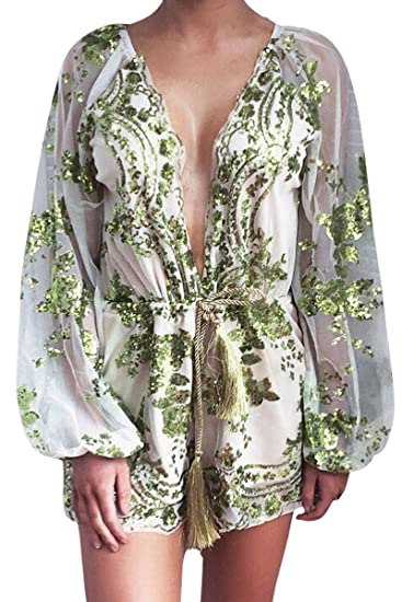 1454c1292c Simplee Apparel Women s Long Sleeve Sequin Floral V Neck Romper Jumpsuit  Green
