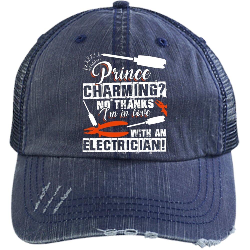 I'm In Love With An Electrician Hat, I'm An Electrician Trucker Cap (Trucker Cap - Navy)
