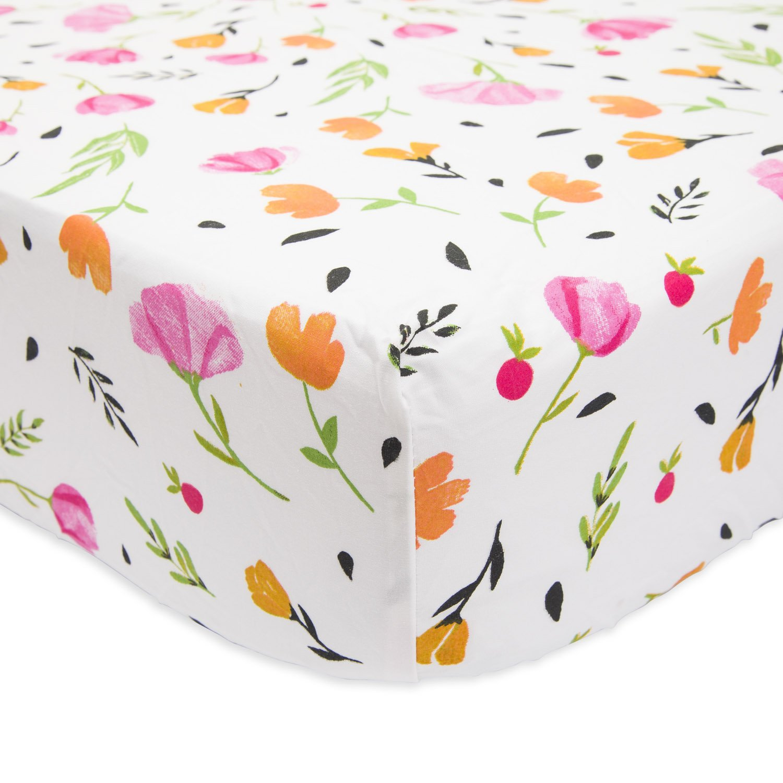 Little Unicorn Berry And Bloom Muslin Crib Sheet