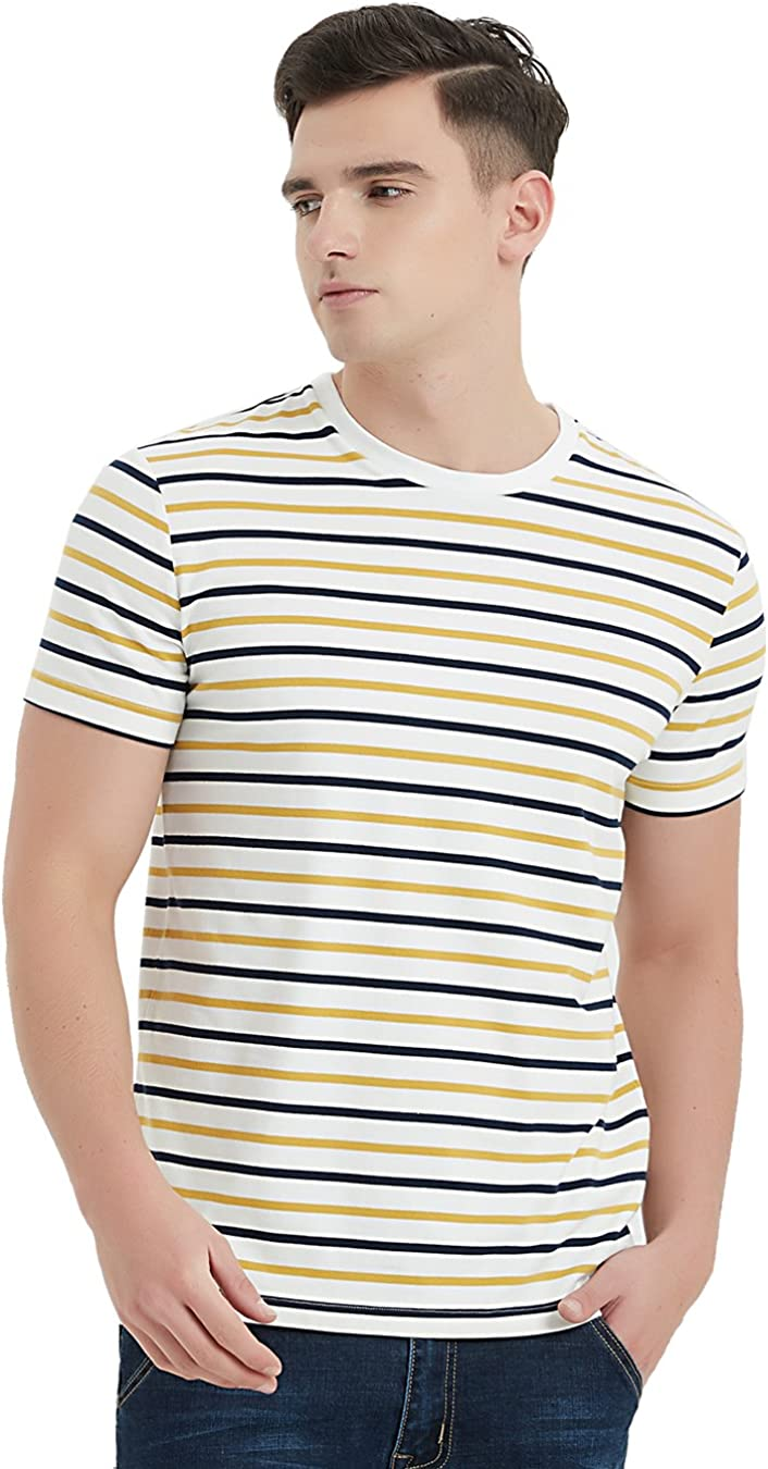 1940s Men's Shirts, Sweaters, Vests Zengjo Mens Striped Shirt Short Sleeve T-Shirts  AT vintagedancer.com