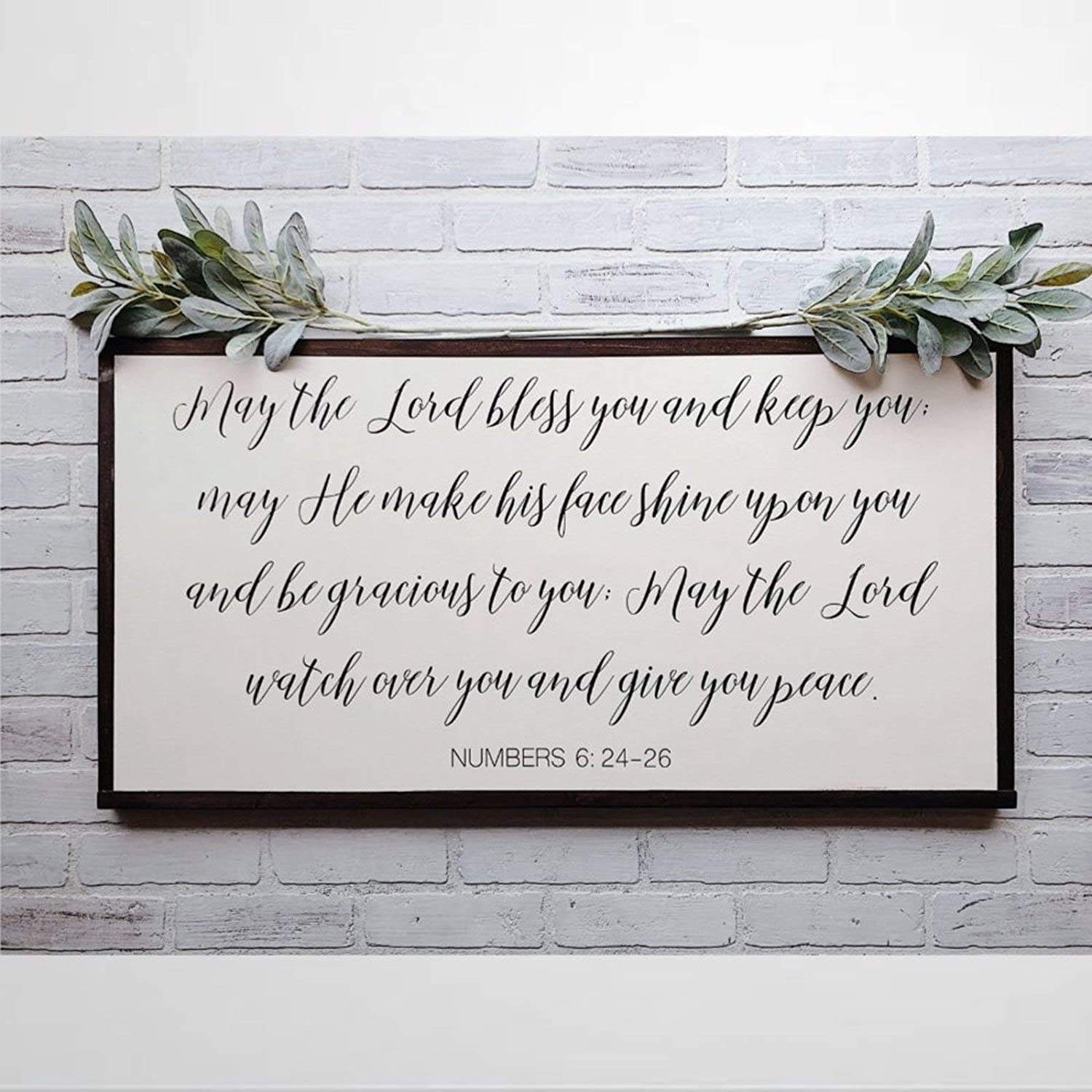 EricauBird May The Lord Bless You Framed Wooden Sign,Keep Numbers Bible Verse Scripture Nursery Wood Wall Decor Sign, Farmhouse Wooden Plaque Art for Home,Gardens, Porch, Gallery Wall, Coffee Shops.