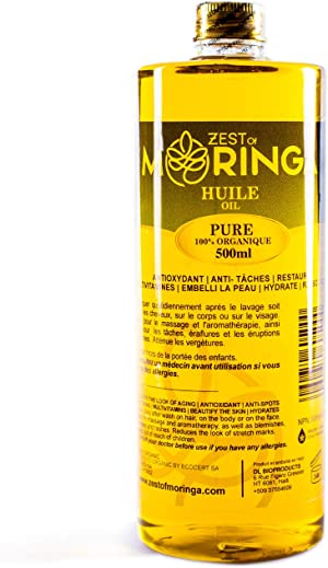 Moringa Oleifera Seeds Oil Cold Pressed 100% Virgin Pure Organic - Ultra Fine Oil with Incomparable Nutrition Benefits - Concentrated Source of Food