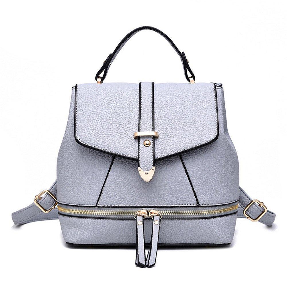 Hynbase Women's Summer Fashion Cute Korean Leather Schoolbag Backpack Shoulder Bag Grey