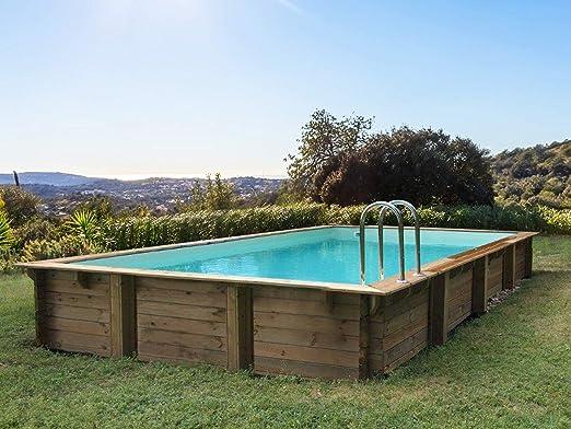 Habitat y jardín – Piscina madera (Kit Rectángulo Sunrise – 8.20 x 5.20 X 1.44 M: Amazon.es: Jardín