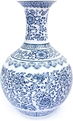 Tuumee Ceramic Blue and White Unglazed Vase, Vintage Elegant Decorative Flower Vase for Home Decor Living Room and Office,9 H