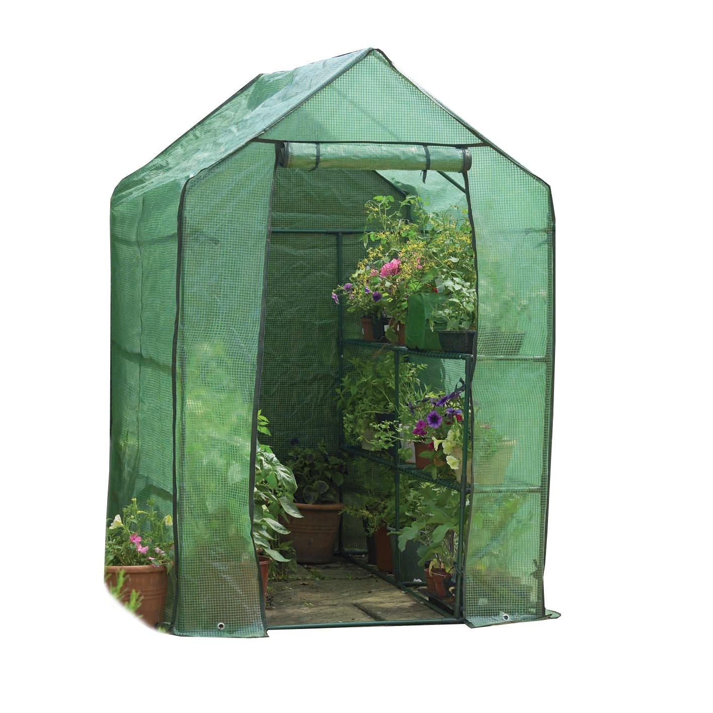 Gardman 7622 Walk-In Greenhouse with Shelving, 75'' Long x 49'' Wide x 75'' High