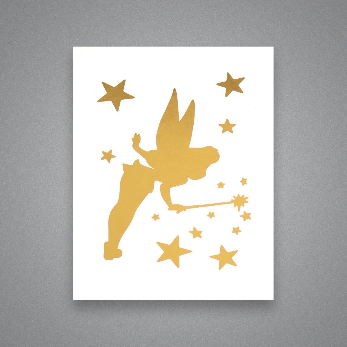 Amazon.com: Tinkerbell Silhouette - Gold Foil Art Print ...