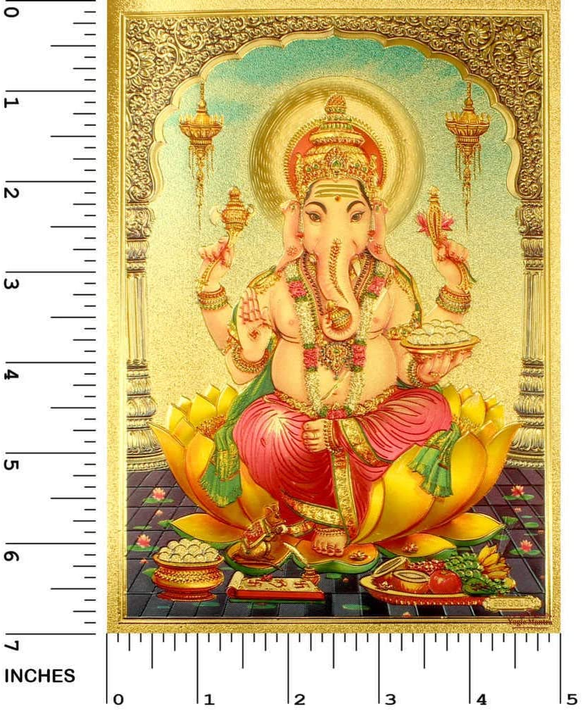 Yogic Mantra Lord Ganesh Photo Poster (5x7 Inches 24K Gold Plated Foil Paper 180 GSM) Energized Elephant God Ganesha Wall Art Decor Embossed Printing for Diwali Gift Home Office Mandir Decoration Item