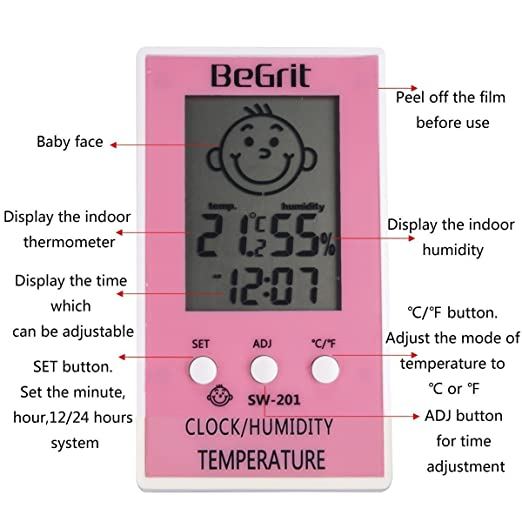 Royalr Outils Mini Thermom/ètre LCD hygrom/ètre humidit/é temp/érature m/ètre int/érieur