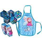 Frozen–Deluxe Frozen 4 Layer Art Kit Set with Elsa & Anna Dress up Artist Apron plus Arm Sleeves