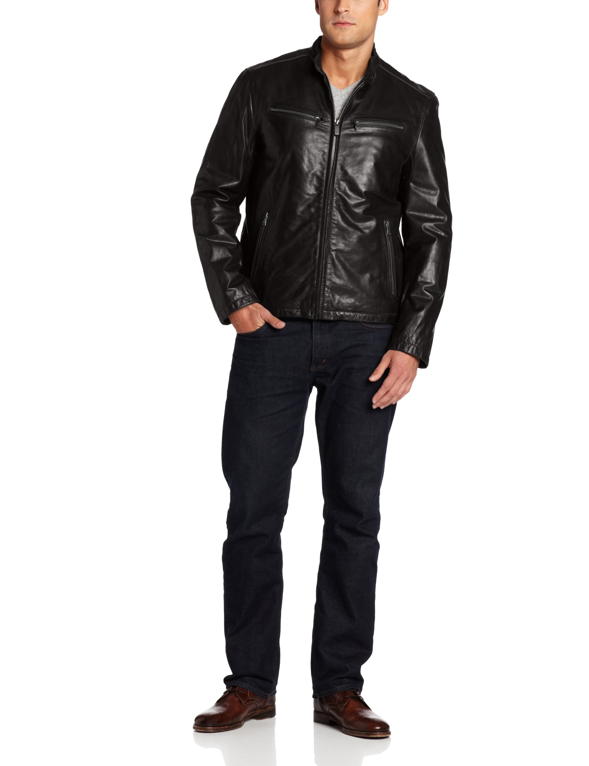 Dockers Men's Washed Leather Racer Jacket, Black, Large by Dockers