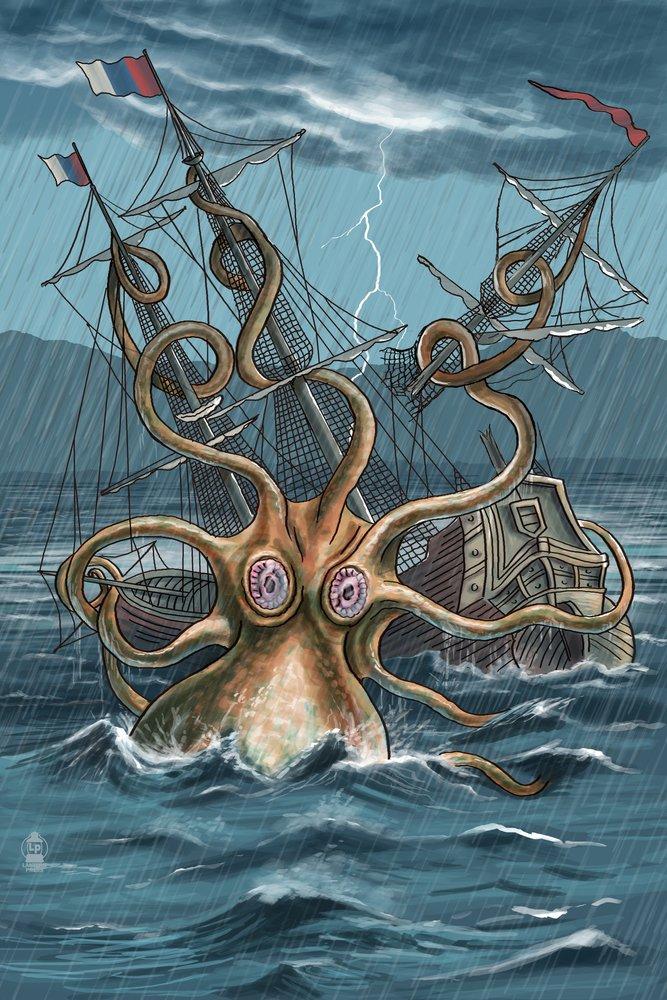 Kraken Attacking Ship 16 x 24 Signed Art Print LANT-36609-709 B07B2G2CM2 16 x 24 Signed Art Print16 x 24 Signed Art Print