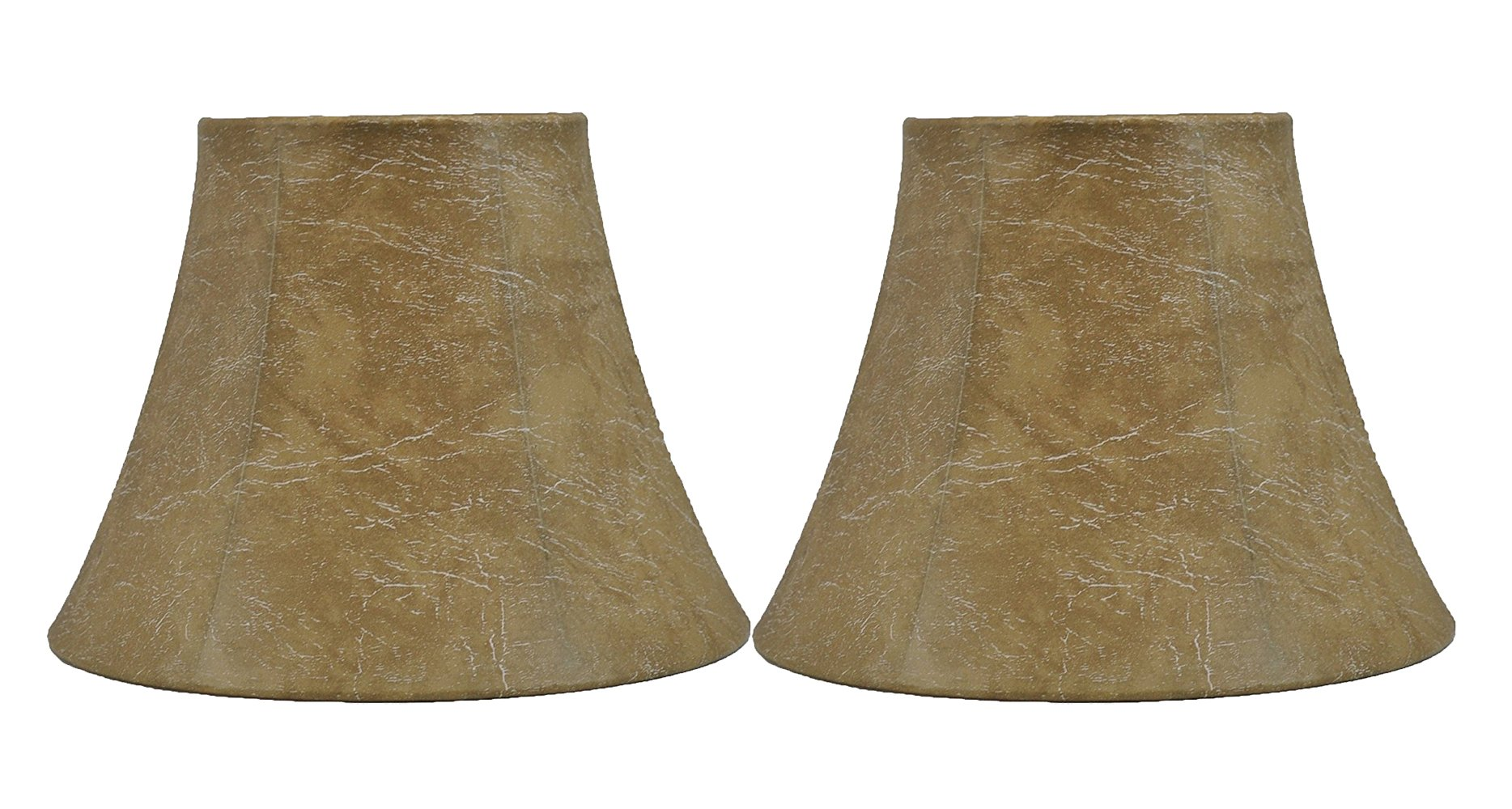 Urbanest Softback Bell Lamp Shade, Faux Leather, 5-inch by 9-inch by 7-inch, Spider-Fitter, Set of 2