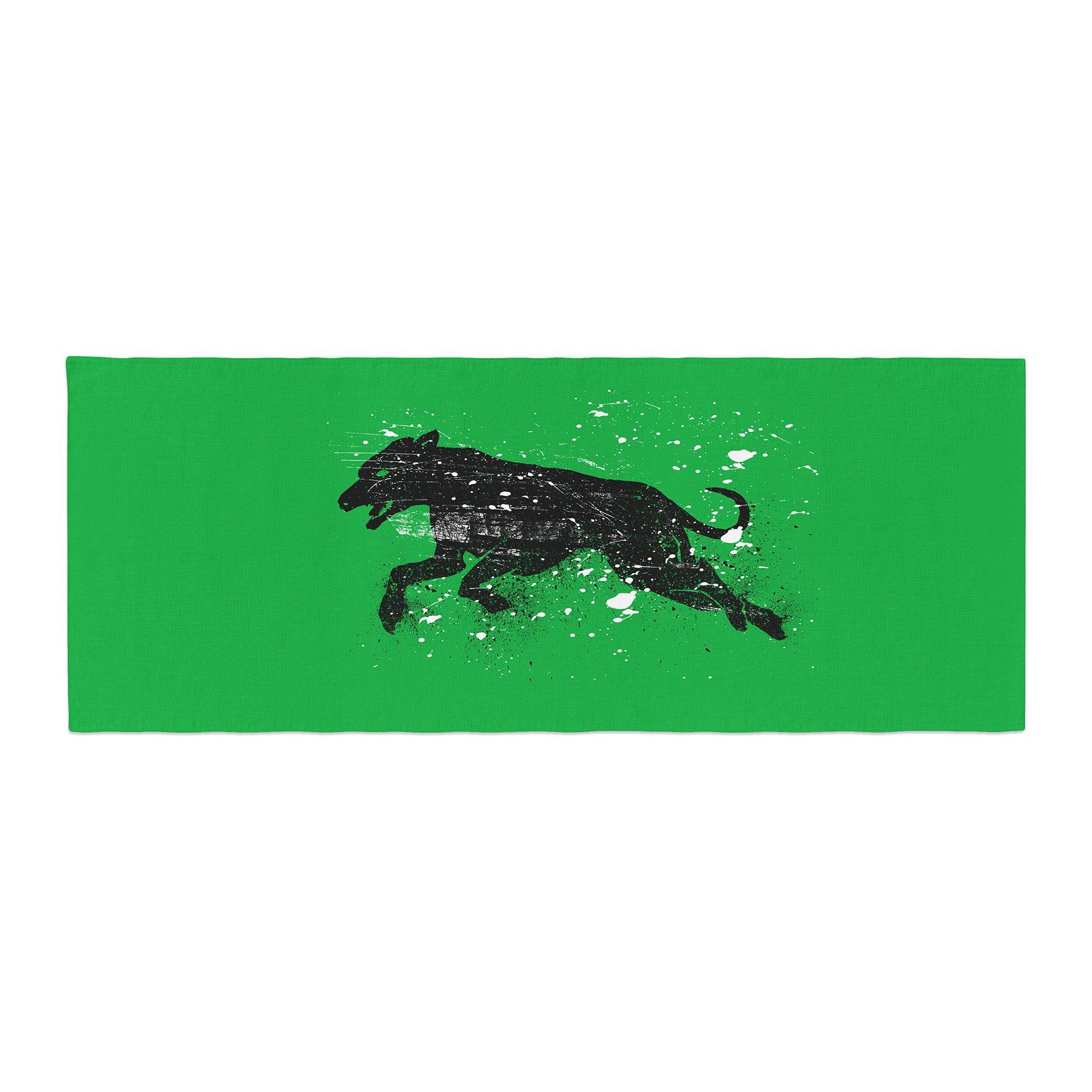 Kess InHouse BarmalisiRTB Black Dog Green Animal Bed Runner, 34'' x 86''