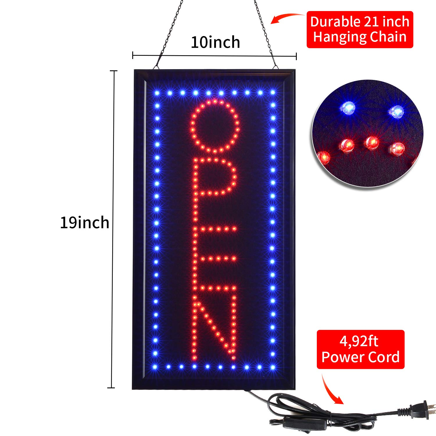 Window Walls Shop LED Open Sign,10x19inch Vertical Light Up Sign LED Business Open Sign Advertisement Board Electric Display Sign Flashing /& Steady Mode Electronic Lighted Signs for Business Bar,