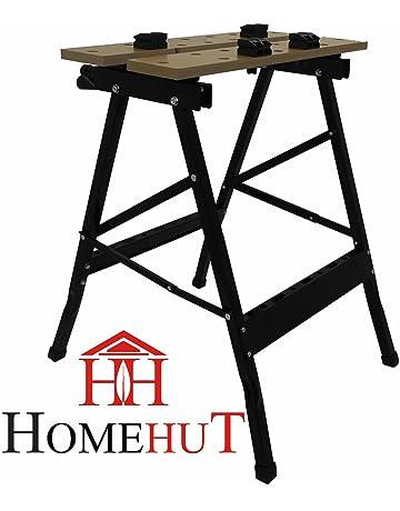 HOME HUT® - Banco de trabajo portátil plegable, de madera resistente con capacidad de