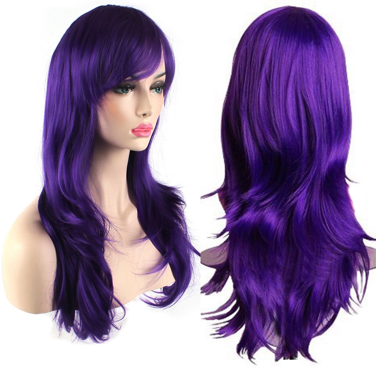 AKStore Women's Heat Resistant 28-Inch 70cm Long Curly Hair Wig with Wig Cap, Purple by Akstore