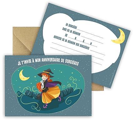 Lote de 5 tarjetas de invitación cumpleaños tema bruja ...