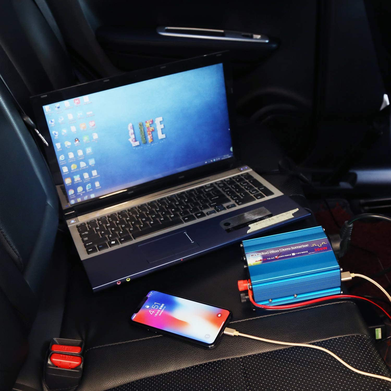 ELE TEC DC 12V to 110V AC Car Inverter with 4.2A Dual USB Car Adapter for Car Outdoors Travel 300W Power Inverter